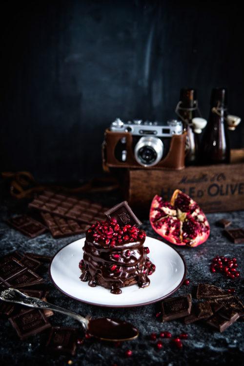 Placki kakaowo-kawowe z czekoladowym ganache