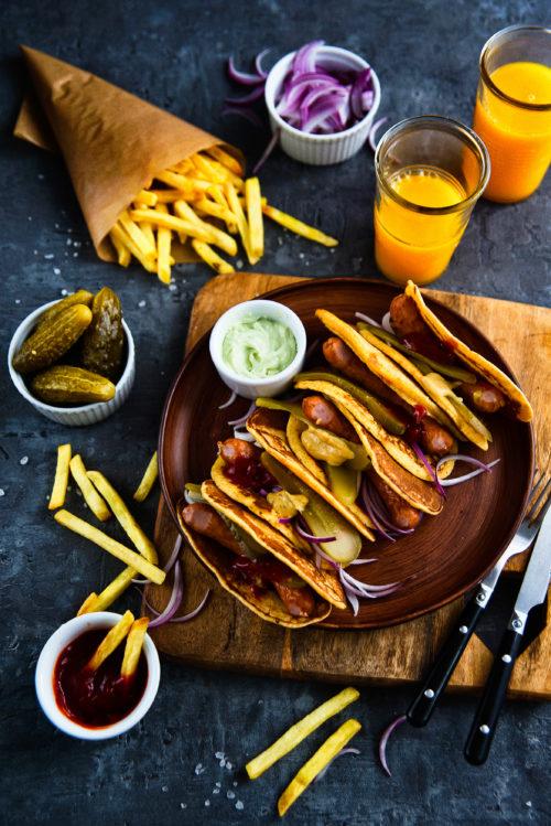 Placuszkowe hot-dogi